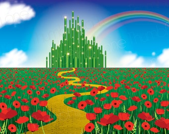 Printable Wizard of Oz Backdrop, Instant Download, 6ft x 4ft, Wizard of Oz Background, Banner, Party Prop, Photography Prop