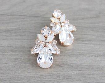 Rose Gold Bridal earrings, Crystal Wedding earrings, Bridal jewelry, Swarovski earrings, Stud earrings, Crystal earrings, Vintage style