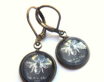 White Bee Earrings Glass and Antiqued Brass Fashion Jewelry