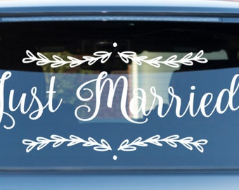 Wedding Getaway Car Decal Just Married Car decal *professional applicator included