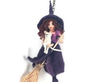 Kitchen Witch, Witch Doll Decoration, Purple Kitchen Witch, Kitchen Witch, Witch Mobile, OOAK Witch Doll, Witch Art Doll,