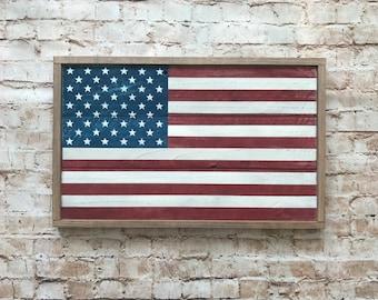 "Farmhouse Style American Flag, Rustic American Flag, 11.5"" x 18.5"""