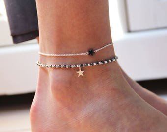 Anklet Pearl star hematite & chain Sterling Silver 925, minimalist jewelry, gift idea, Myo