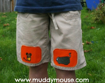 Cat & Mouse iron on knee patches