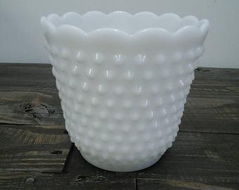 White hobnail milk glass vase | Vintage Vase | Antique white vase