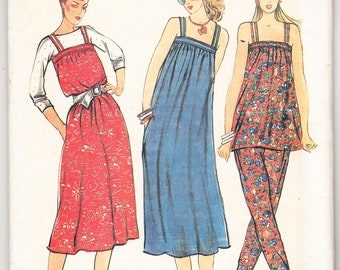 Vintage 1980s Butterick 6541 Sewing Pattern Misses' Dress or Jumper, Tunic & Pants Size 12 Bust 34