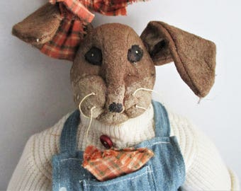 Primitive Rabbit Doll Paper Mache Clothed Stuffed Bunny Strawberry Overalls Collectible Doll