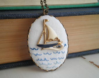 Retro Boat Necklace - Embroidered Ocean Waves Ombre Pendant - Nautical Water Wave Embroidery - Vintage Sailboat High Seas Fiber Jewelry Gift