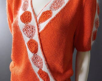 Vintage 80s LILLIE RUBIN New Wave Angora Hand Knit SWEATER L