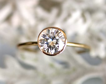 6.5mm Forever Brilliant Moissanite 14K Gold Engagement Ring, Stacking Ring, Recycled Gold Ring - Custom Made For You