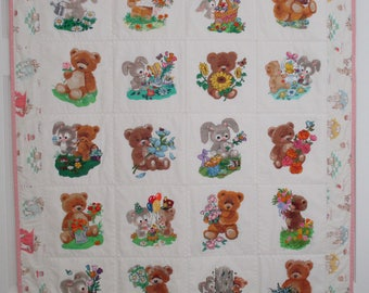 "Machine Embroidered Baby Quilt, Crib Quilt, Baby Blanket, Handmade Baby Quilt - Marigold & Tulip - approx 38"" x 46"""