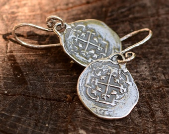 Spanish Coin Earrings, Sterling Silver Reale Earrings, Atocha Coin Earrings