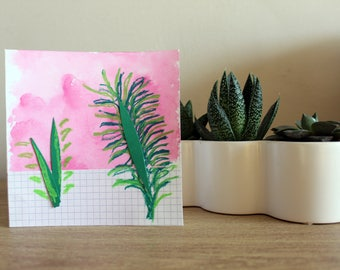 Plant on Pink Card