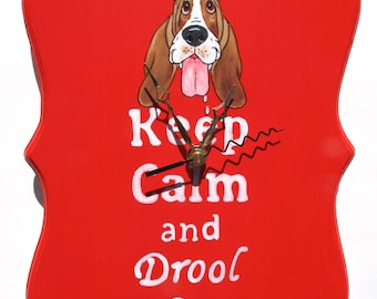 "Made to Order Hand Painted Basset Hound Clock - ""Keep Calm..."" in Red"