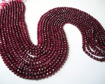 Garnet Faceted Roundel Beads Size 4  mm String Lenth Is 14'' inch Total 1 Strings .