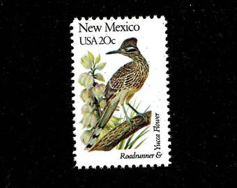 10 New Mexico -Free Shipping- Pack of (10) - New Mexico - Roadrunner - Yucca Flower - Vintage Unused U.S. Postage Stamps- Post Office Fresh!