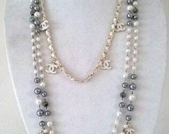 Handmade CC Logo Chanel Inspired Pearl necklace