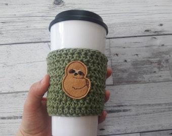 Sloth lover gift, sloth gift, sloth cup cozy, crochet cup cozy, coffee cozy, coffee cup cozy, mug sleeve, travel mug cozy, to go travel cozy