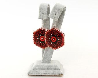 Red Hexagon Copper Earrings, Earrings for Red Dress, Celebrity Earrings, Wedding Earrings, Bride Earrings, Dangle Turkish Earrings