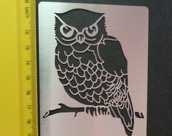 Small Stainless Steel stencil Oblong Owl Bird Emboss