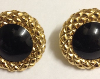 Vintage Art Deco Style Gold Tone Onxy Earrings
