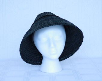 40's or 50's black straw New Look hat