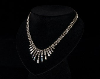 Vintage 1950's Necklace, Baguette Diamante, Rhinestone, Paste, Bridal, Crystal, Choker, Wedding, Old Hollywood Glamour