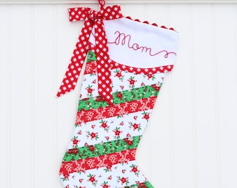 Personalized Christmas Stocking, Quilted Christmas Stocking, Christmas Stocking, Monogrammed Christmas Stocking Embroidered