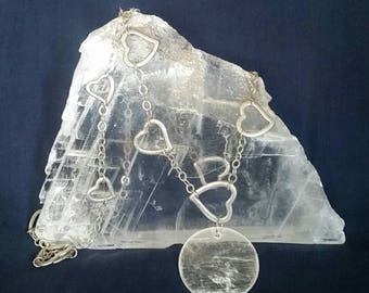 Selenite Crystal Pendant MOON Necklace / Selenite Necklace Moon Goddess Pendant / Crystal Jewelry HEART Necklace / Wiccan  Pagan Necklace