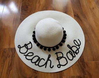 Personalised Straw Hat, Bespoke Straw Hat, Sequin Hat, Do not Disturb, Monogram, Floppy Straw hat, Personalized Straw Hat.