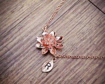 Rose Gold Lotus flower bracelet, Personalized bracelet, initial bracelet, Lotus bracelet, initial charm, Bridesmaids Gift, simple bracelet