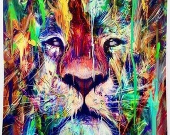 Lion Tapestry, Rainbow Paint Lion  Tapestry, Art Tapestries, Wall Colorful Decor, Dorm Tapestries, Width 56 Inc. Length 50 Inc. Width