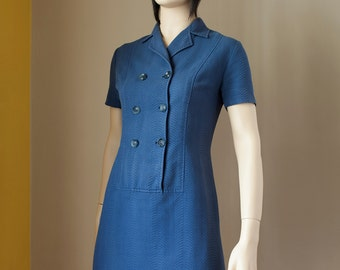 60s Mod Dress Small Medium Mini Shift Short Sleeve Blue Cotton Dress Size S M