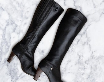 Vintage 1990's Black Leather Knee High Boots With Thin Heel Size 7