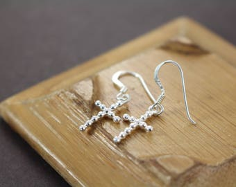 Cross Earrings , Confirmation Communion Gifts for Girls , Baptism Gift Girl , Religious Jewelry , 925 Sterling Silver