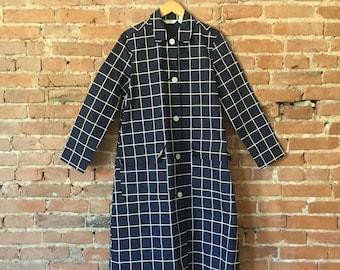 Vintage Heavy Cotton Patterned Rain Coat