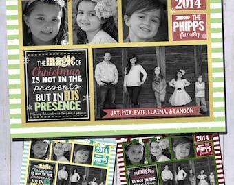 Photo Christmas Card | Religious Christmas Card | Stripe or Chevron Chalkboard | Digital Christmas Card {L17}