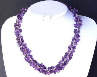 Necklace Amethyst Chip Beads Chained Dangle NSAT1419
