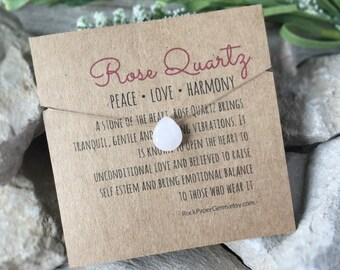 Rose Quartz Necklace - Quartz Gemstone Necklace, Simple Necklace, Dainty Necklace, Faceted Teardrop Necklace, Floating Gemstone Necklace