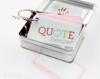 Quote Keeper Ring with Cards // Champagne Pink // Quote journal, baby sprinkle gift, baby shower, baby book, baby album, new mom gift ideas