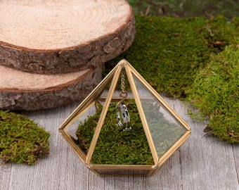 WEDDING RING box gold prism glass holder ring bearer box pillow page boy best man commitment ceremony terrarium