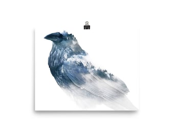 Digital art print | raven and trees double exposure | Photo paper poster| wall art | posters and prints | bird print | poster | 8x10