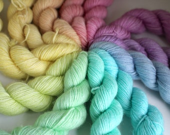 Unicorn Rainbow Mini Skein Set - BFL 4 Ply