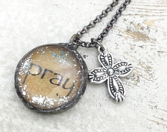 PRAY Necklace, Soldered Glass Bubble Charm Necklace, Soldered Glass Necklace, Religious Gift, Inspirational Jewelry, Kyleemae Designs