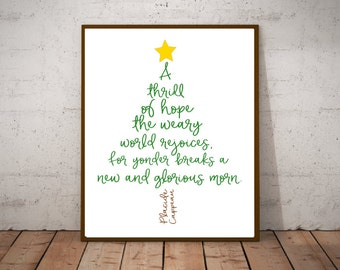 A Thrill of Hope - The Weary World Rejoices - Christmas Hymn Lyric Art - Christmas Holiday Decorations - Christmas Printables - O Holy Night