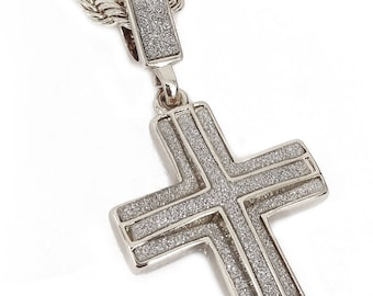 """Stardust Cross Pendant Necklace with 24"""" Rope Chain"""