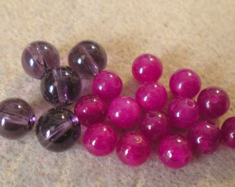 Set of 20 6 mm and 5 imitation Amethyst 8 mm fuschia AGATE gemstone beads