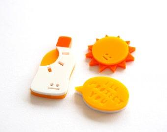 Sunscreen Brooch, Acrylic Brooch, Brooch Set, Sun, Suntan Cream, Laser Cut Brooch, Summer Jewellery, Brooch, Pin Badge, RockCakes
