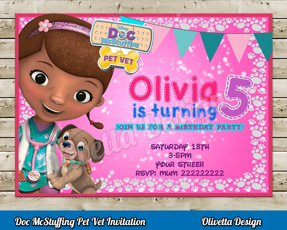 Doc McStuffins Pet Vet Invitation for Birthday Party Digital