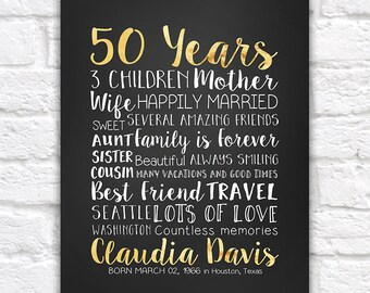 50 Years, 50th Gift, Golden Year, 50 Years Old, Turning 50, 50th Birthday Gifts, Gifts for Mom, Sister, Best Friend, Aunt, Mother | WF282